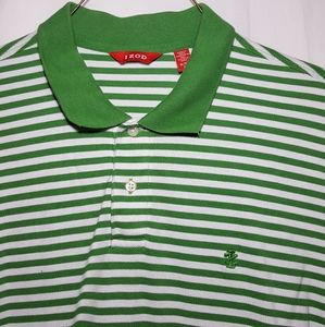Vintage IZOD Green Striped Golf Polo Shirt XL